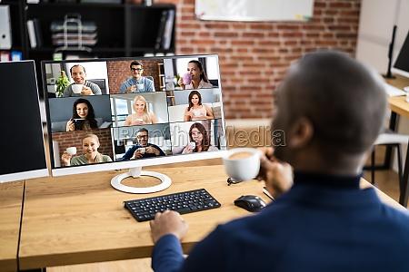webinar de trabalho de videoconferencia on