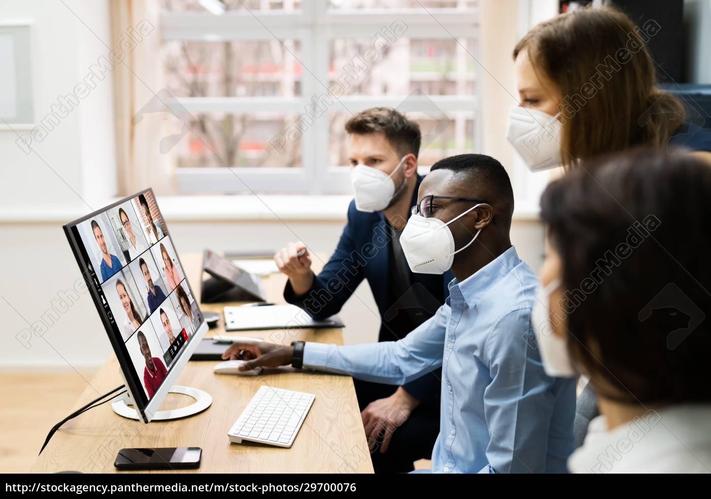 videoconferência, chamada, em, reunião, de, negócios - 29700076