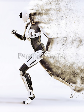 androide robo robotico dissolvendo mulher correndo