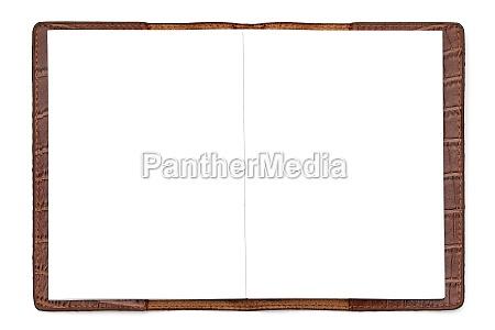 caderno de couro marrom isolado em