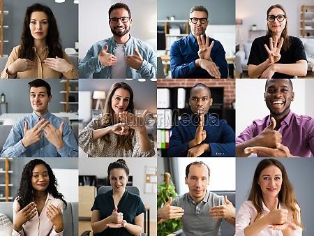 pessoas aprendendo lingua de sinais surdas