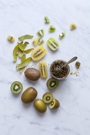 geleia kiwi amarela e verde