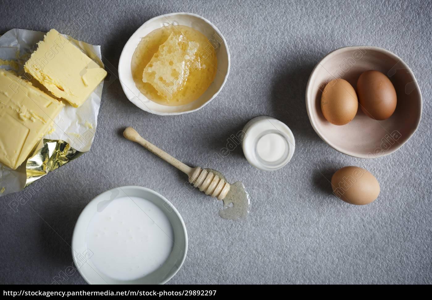 butter, , honey, , eggs, and, milk - 29892297