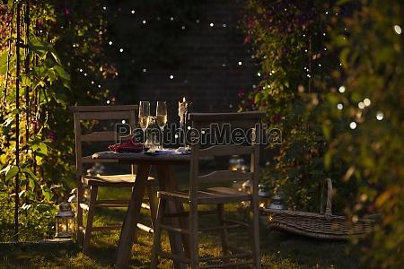 champanhe, e, groselha, vermelha, na, mesa - 30217175