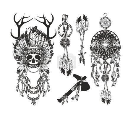 Vector, ilustração, etnia, Resumo, cabeça, velho - B95065848
